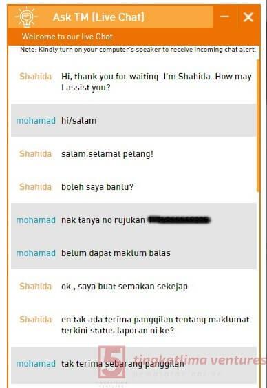 Rebet TM Streamyx - Panduan Tuntutan Rebet Live Chat 7
