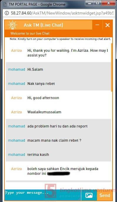 Rebet TM Streamyx - Panduan Tuntutan Rebet Live Chat 4