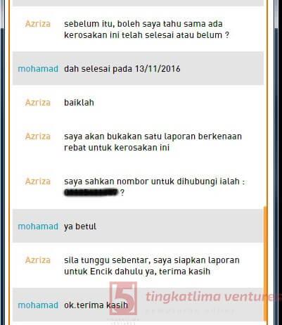 Rebet TM Streamyx - Panduan Tuntutan Rebet Live Chat 5