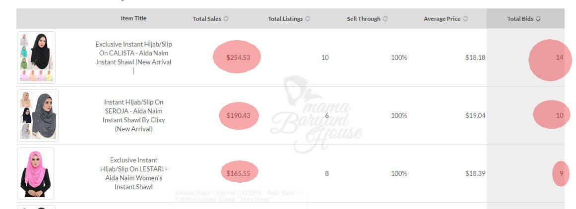 Jualan Tudung RM14,191.47 di eBay 5